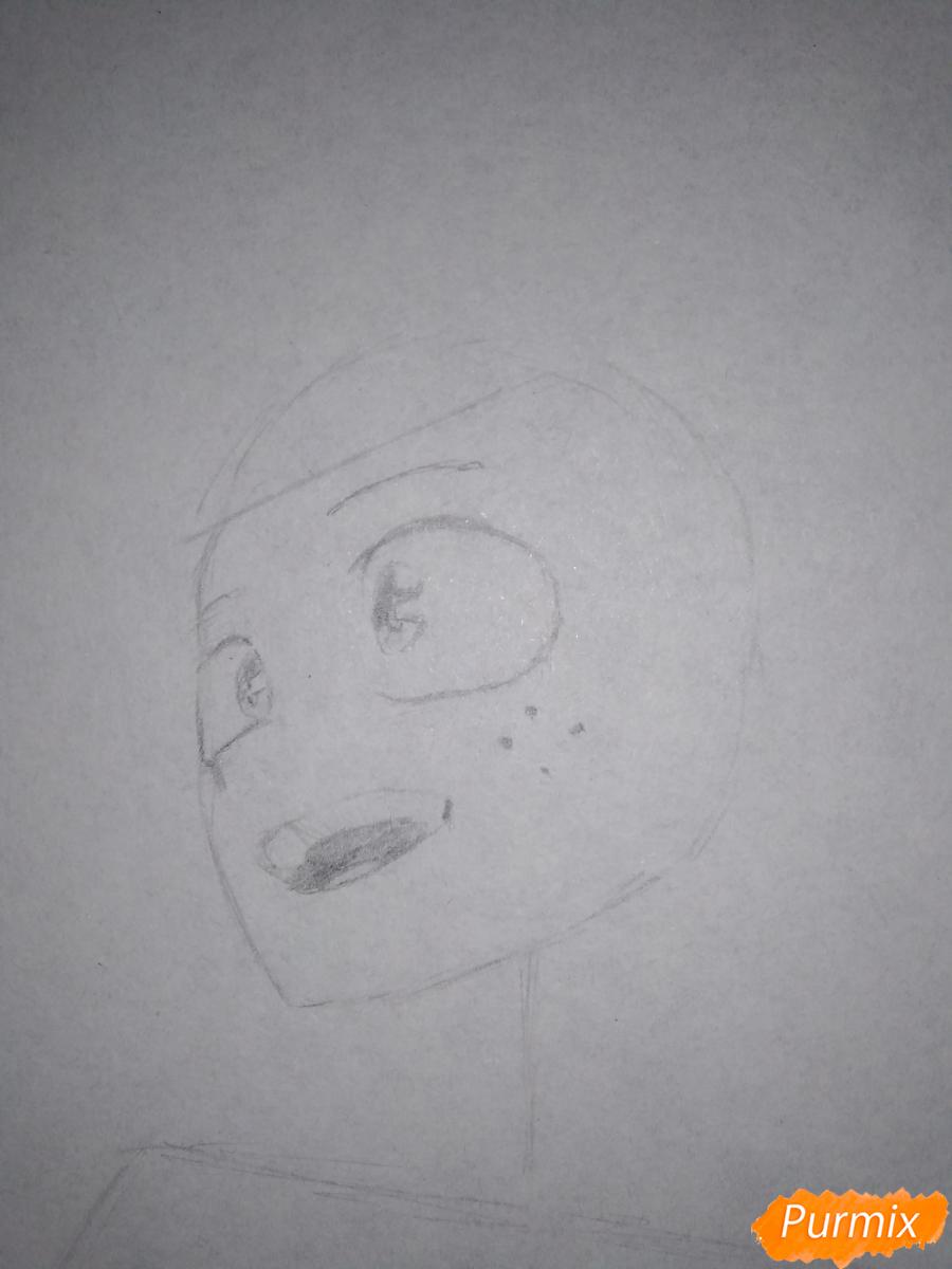 Рисуем Изуку Мидория из аниме Моя геройская академия карандашами - шаг 3