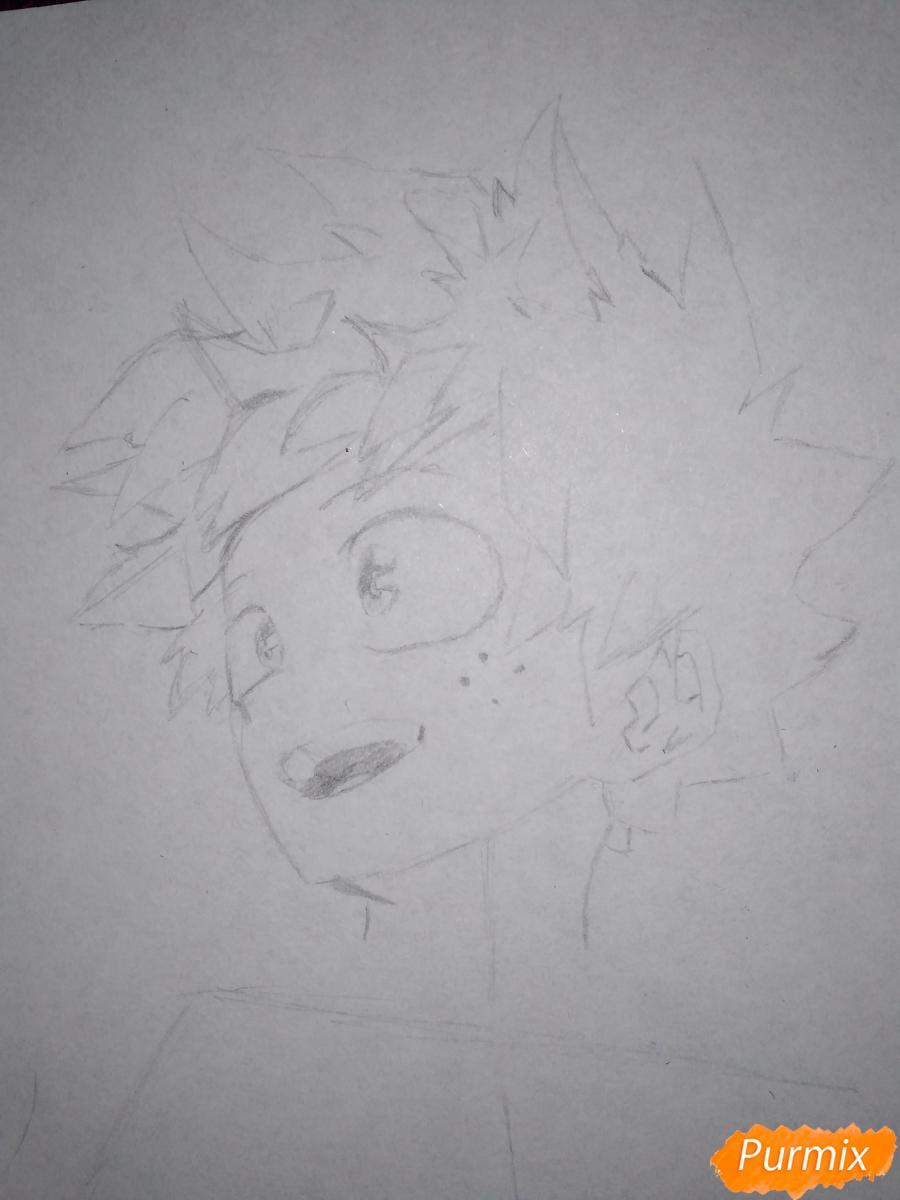 Рисуем Изуку Мидория из аниме Моя геройская академия карандашами - шаг 4
