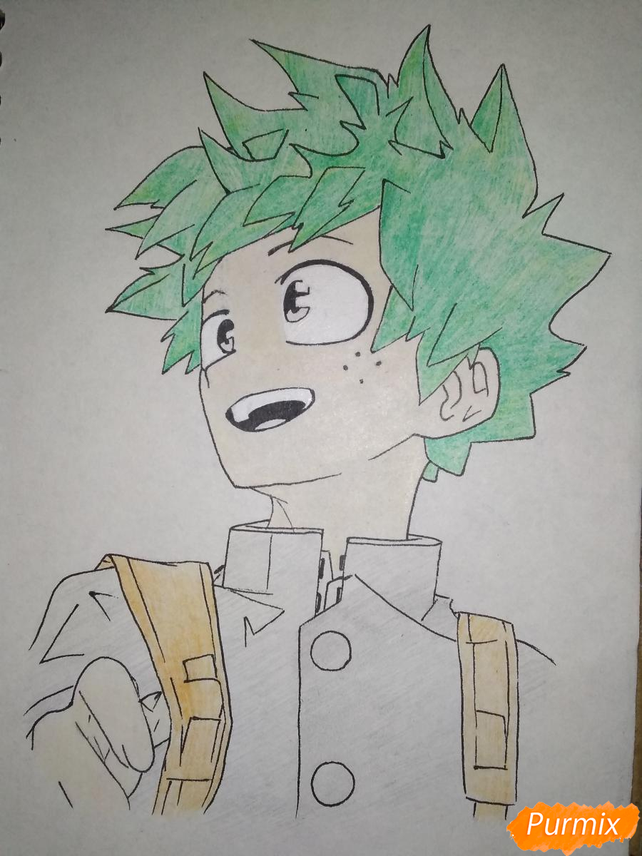 Рисуем Изуку Мидория из аниме Моя геройская академия карандашами - шаг 7