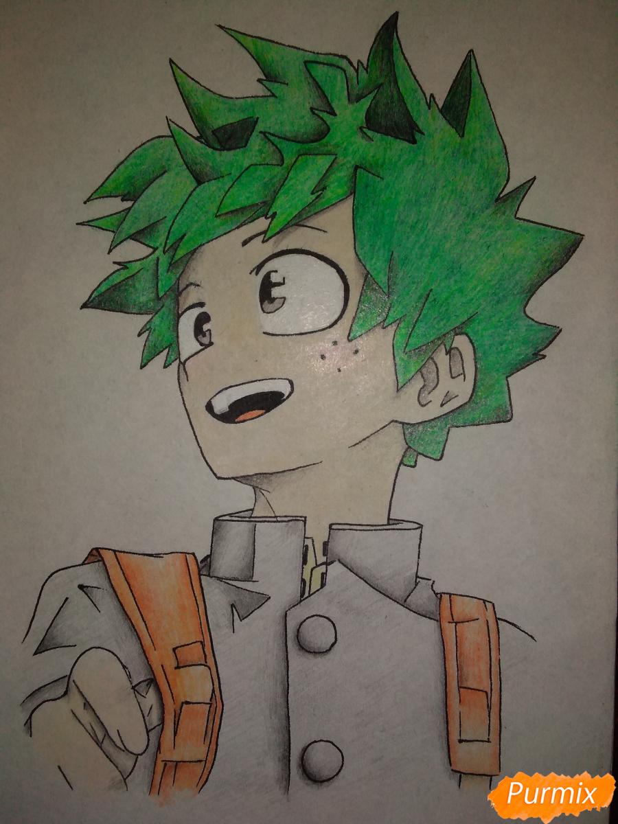 Рисуем Изуку Мидория из аниме Моя геройская академия карандашами - шаг 8