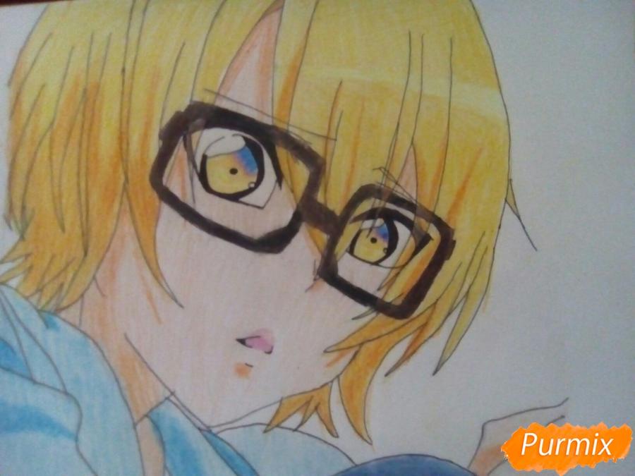 Рисуем Изуми из аниме Любовная сцена цветными карандашами - шаг 10
