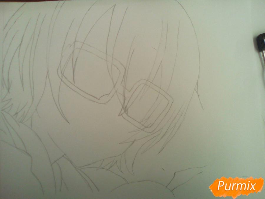 Рисуем Изуми из аниме Любовная сцена цветными карандашами - шаг 3