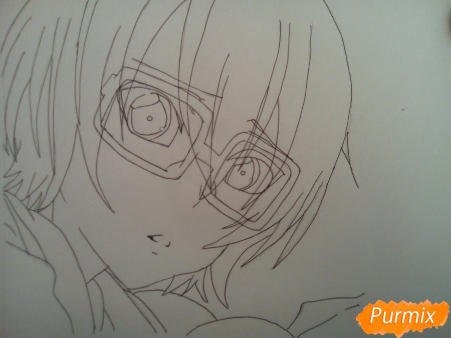 Рисуем Изуми из аниме Любовная сцена цветными карандашами - шаг 5