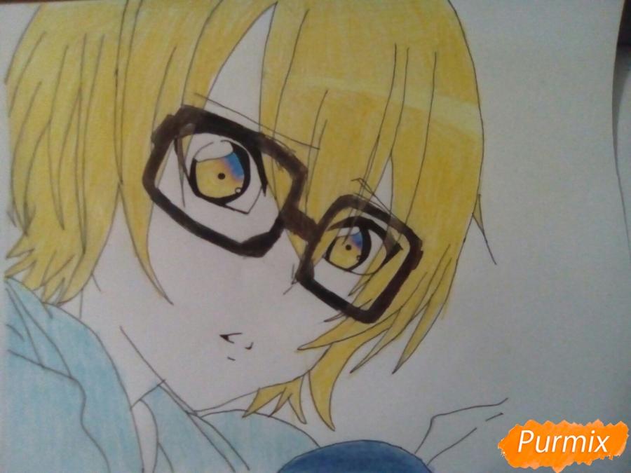 Рисуем Изуми из аниме Любовная сцена цветными карандашами - шаг 8