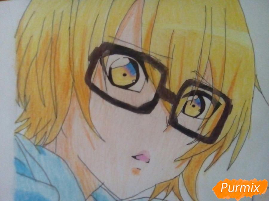 Рисуем Изуми из аниме Любовная сцена цветными карандашами - шаг 9