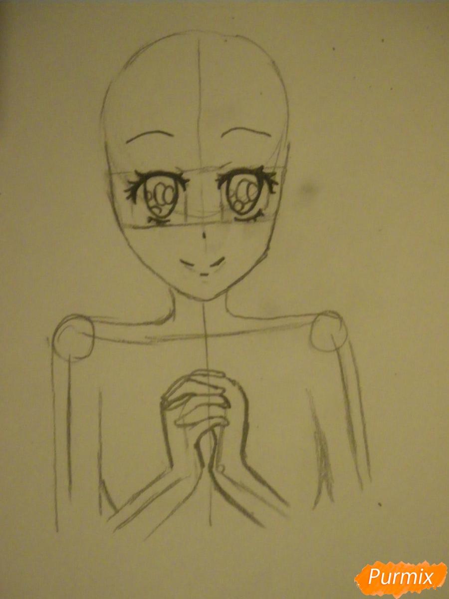 Рисуем Элизабет из аниме Тёмный Дворецкий цветными карандашами - шаг 2