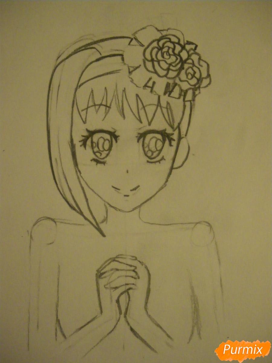 Рисуем Элизабет из аниме Тёмный Дворецкий цветными карандашами - шаг 3