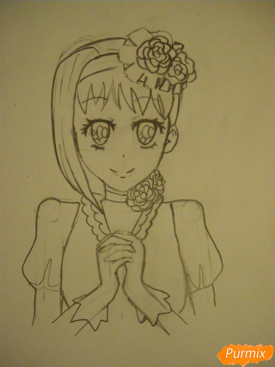 Рисуем Элизабет из аниме Тёмный Дворецкий цветными карандашами - шаг 4