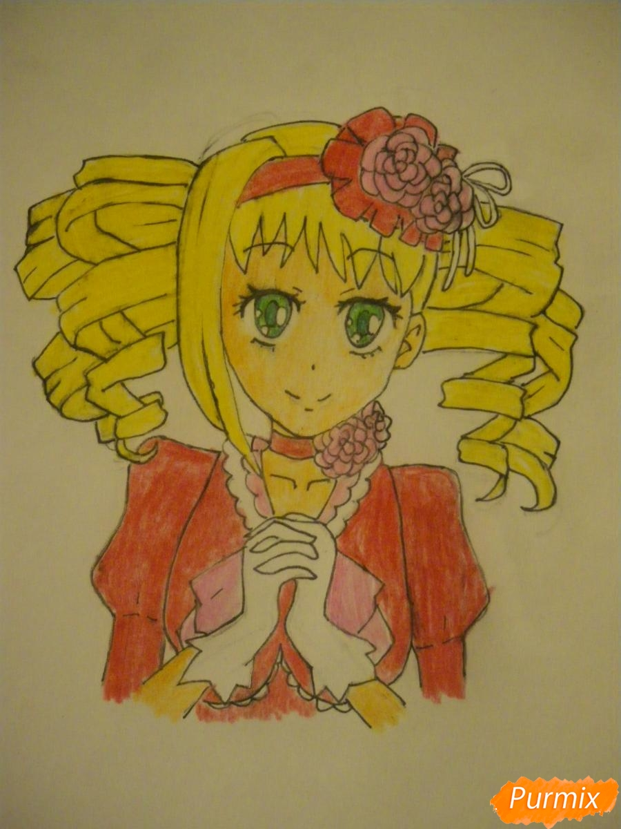 Рисуем Элизабет из аниме Тёмный Дворецкий цветными карандашами - шаг 7