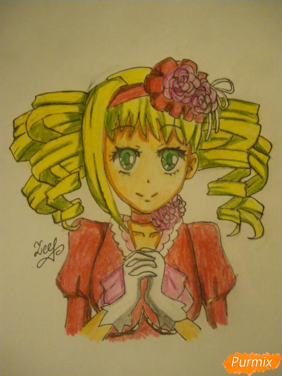 Рисуем Элизабет из аниме Тёмный Дворецкий цветными карандашами - шаг 8