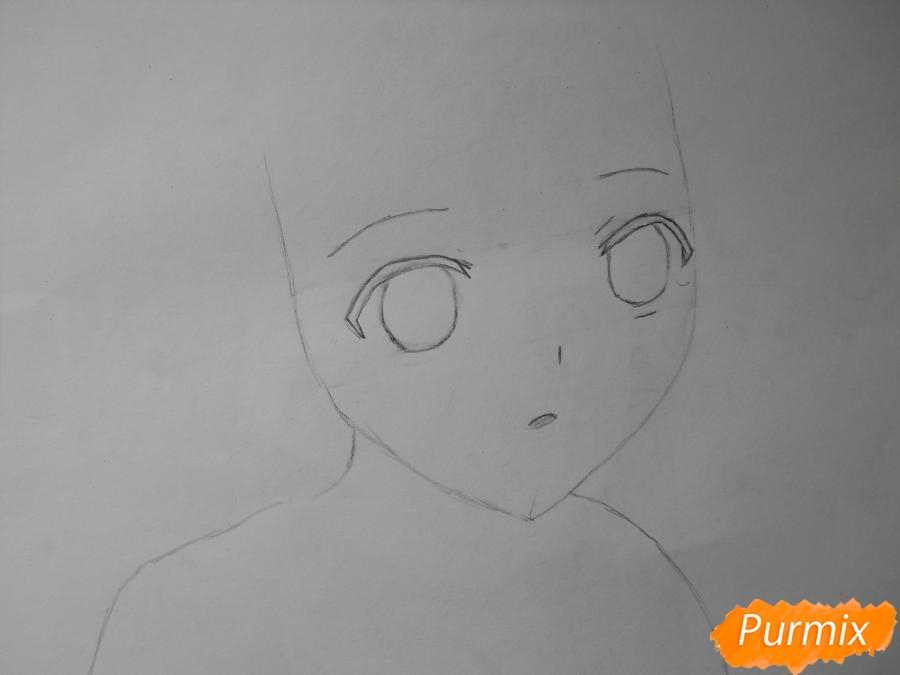Рисуем Эмилию из аниме Сатана на подработке - шаг 2