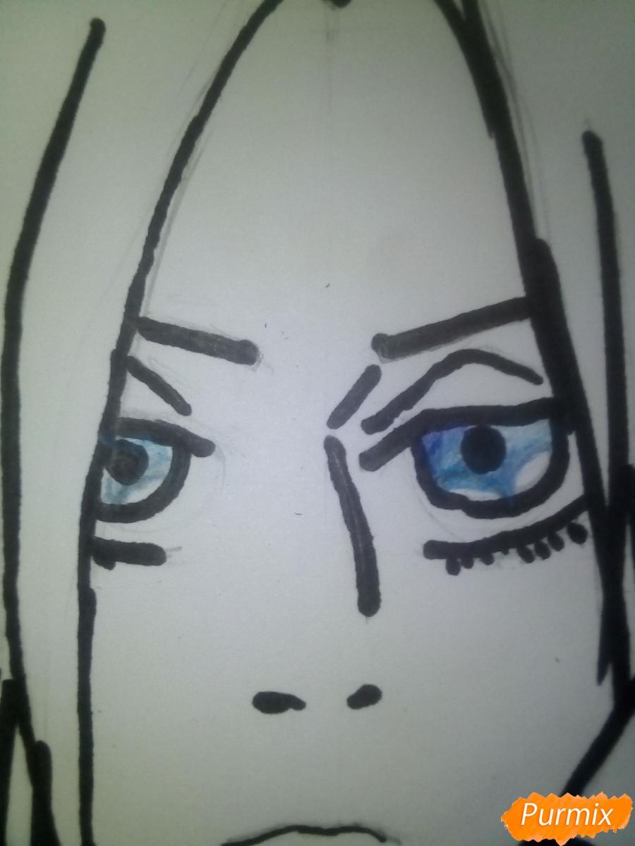 Рисуем Энни Леонхарт из аниме Атака Титанов карандашами - шаг 9