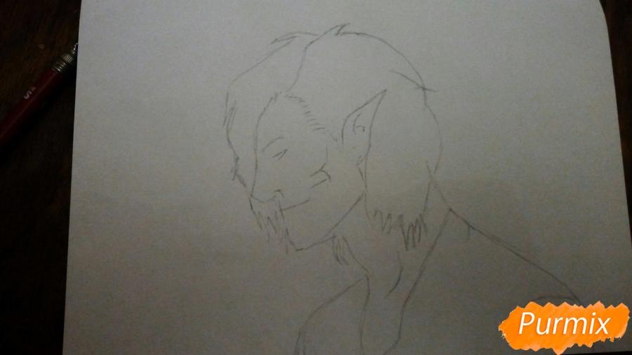 Рисуем Эрена Йегера в профиль в образе титана - шаг 1