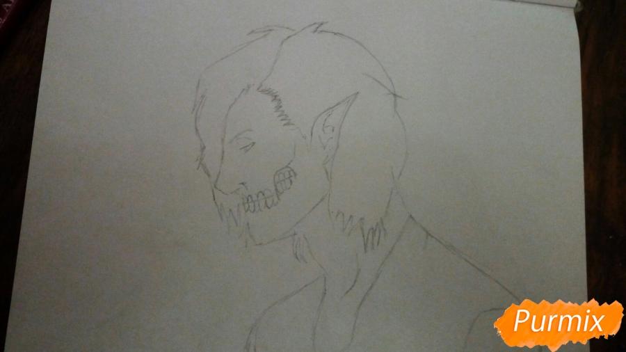 Рисуем Эрена Йегера в профиль в образе титана - шаг 2