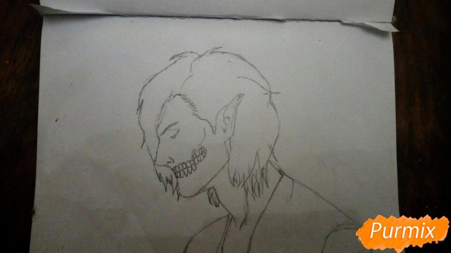Рисуем Эрена Йегера в профиль в образе титана - шаг 3