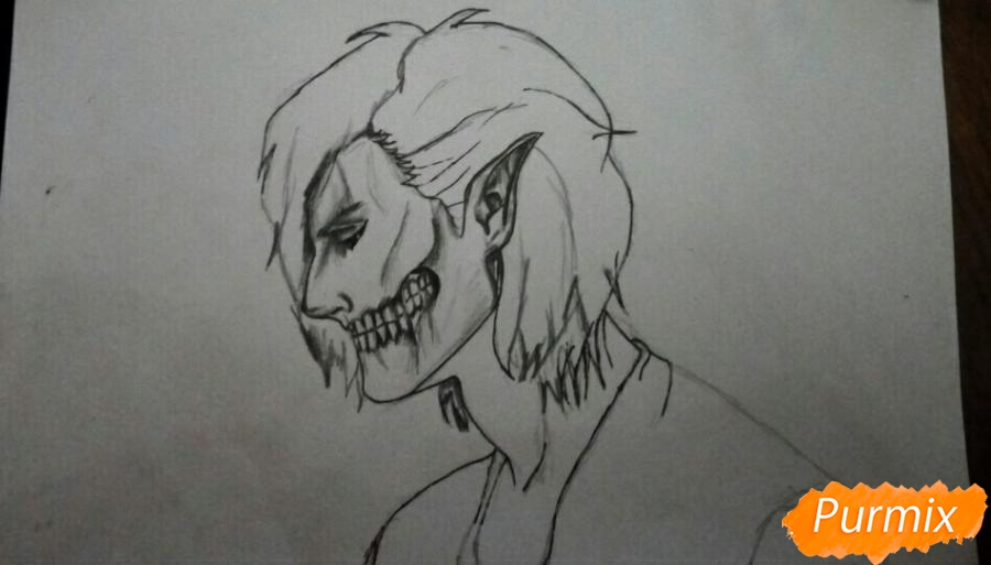 Рисуем Эрена Йегера в профиль в образе титана - шаг 7