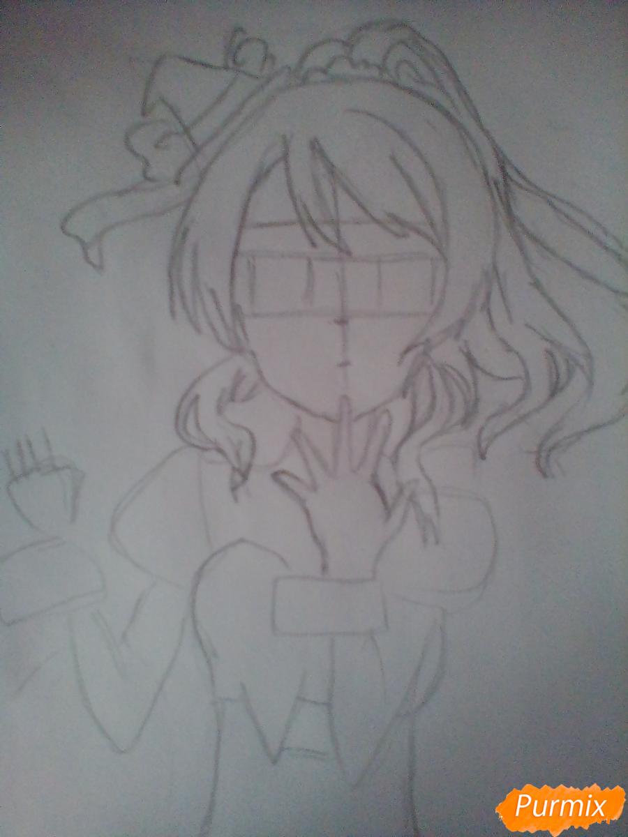 Рисуем Эри Аясе из аниме Live Love карандашами - шаг 3