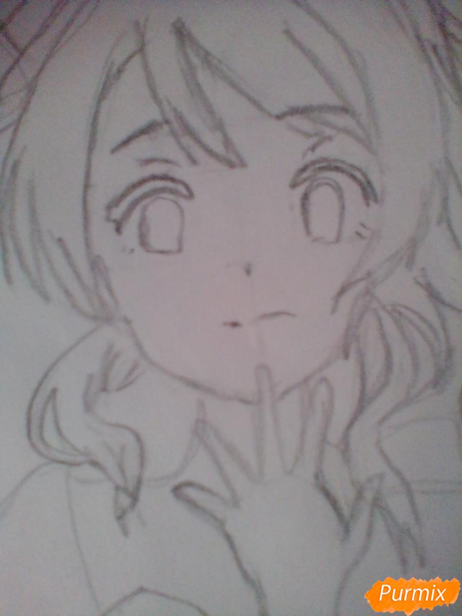 Рисуем Эри Аясе из аниме Live Love карандашами - шаг 4