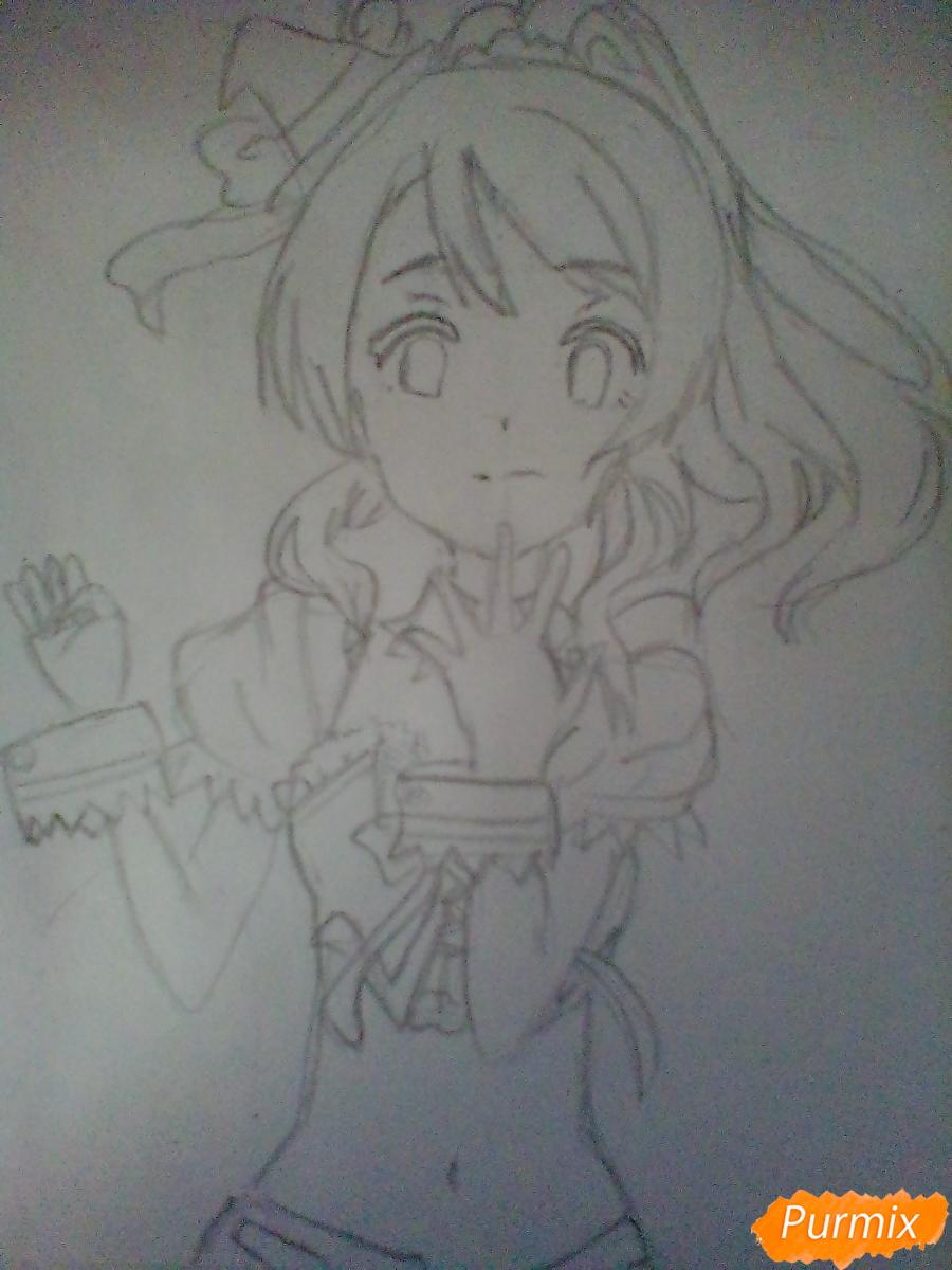 Рисуем Эри Аясе из аниме Live Love карандашами - шаг 5