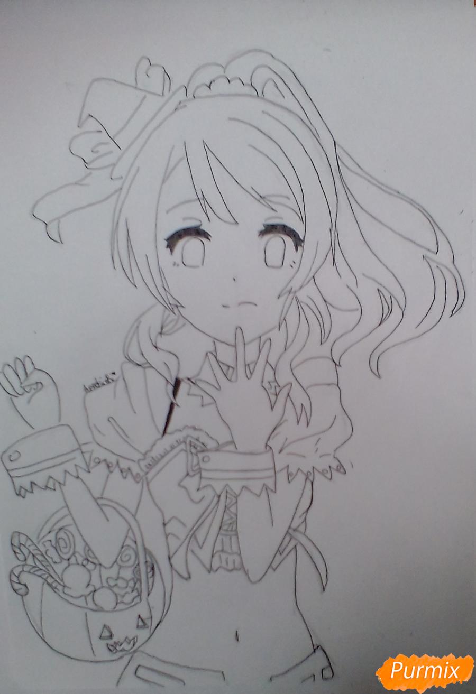 Рисуем Эри Аясе из аниме Live Love карандашами - шаг 7