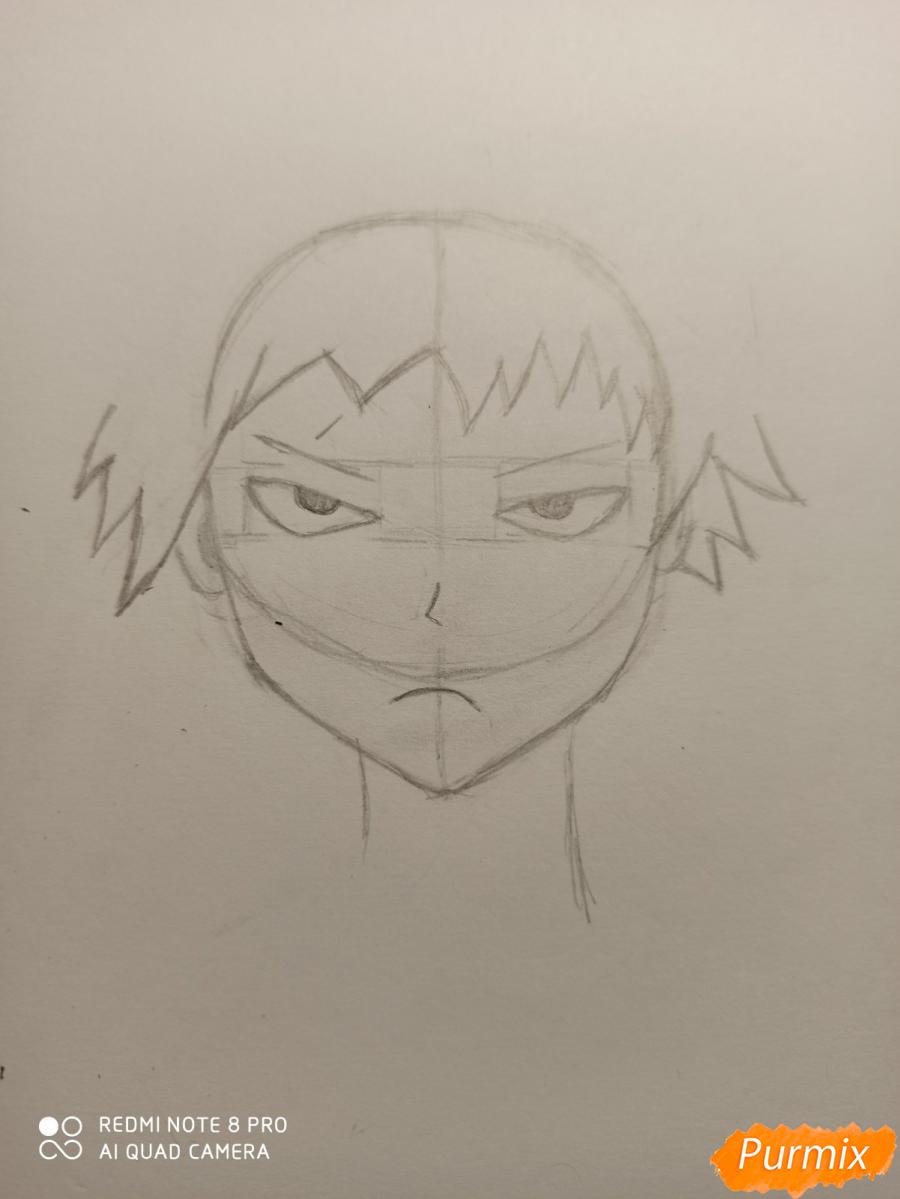 Рисуем Кацуки Бакуго из аниме Моя геройская академия - шаг 2