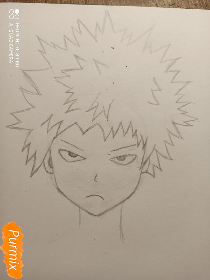 Рисуем Кацуки Бакуго из аниме Моя геройская академия - шаг 3
