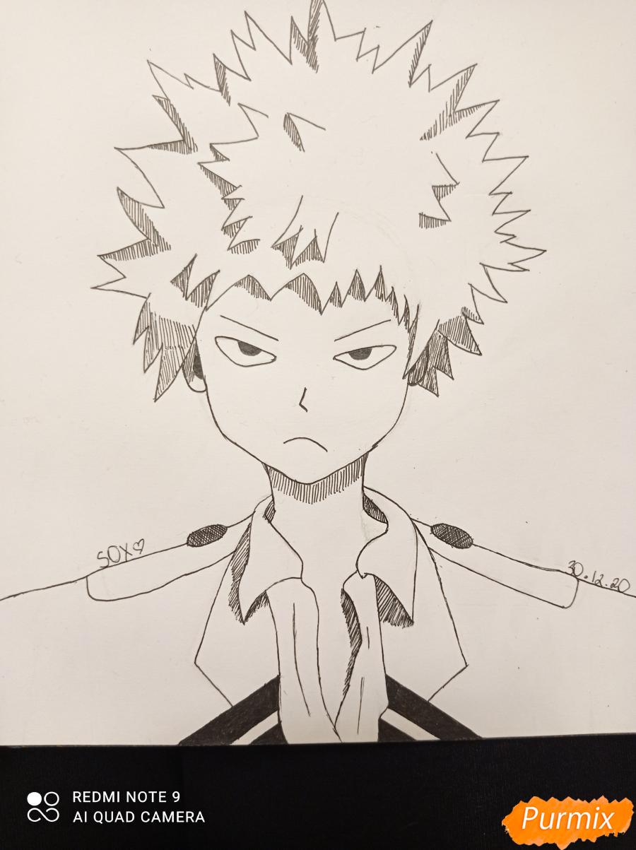 Как нарисовать Кацуки Бакуго из аниме Моя геройская академия