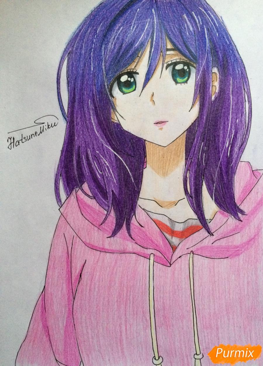 Рисуем и раскрасить Каэ Сэринуму из аниме Я требую яоя - шаг 8