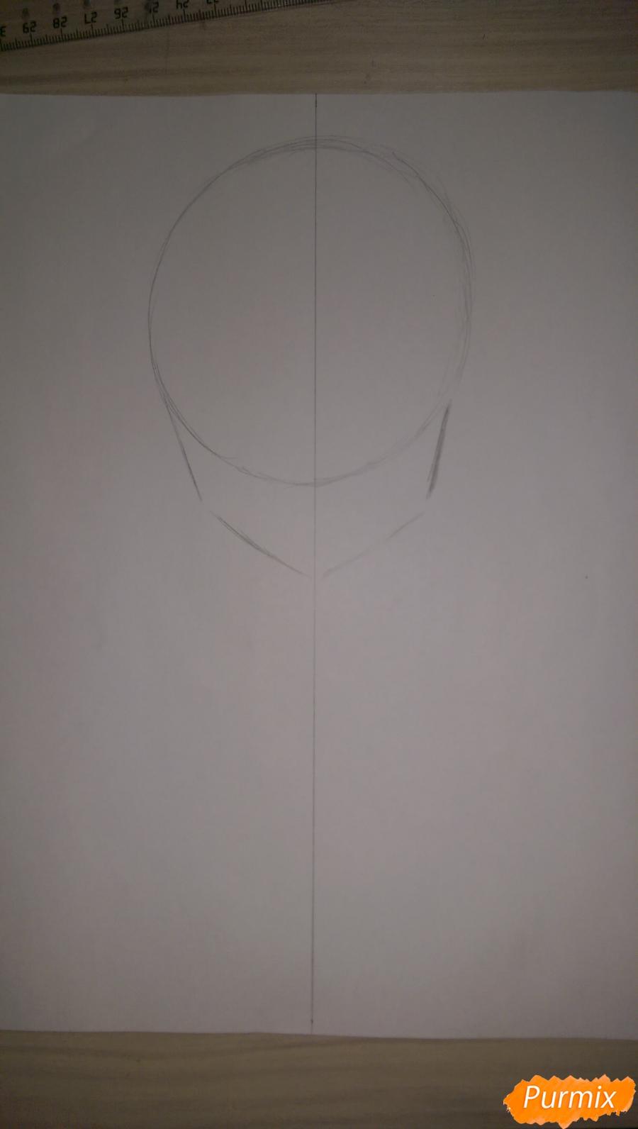 Рисуем Канеки Кена из аниме Токийский Гуль карандашами - шаг 1