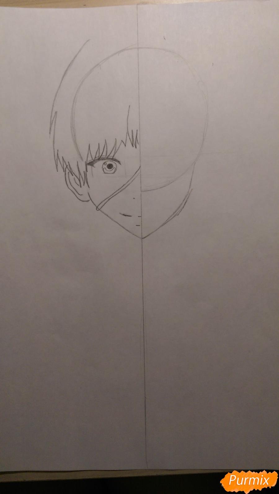 Рисуем Канеки Кена из аниме Токийский Гуль карандашами - шаг 2