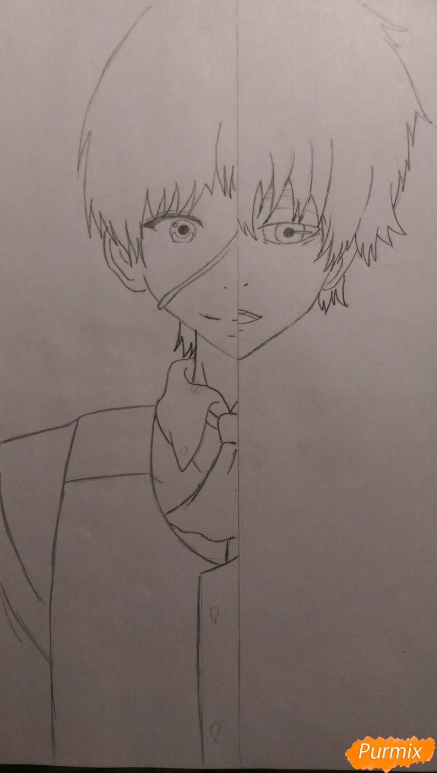 Рисуем Канеки Кена из аниме Токийский Гуль карандашами - шаг 5