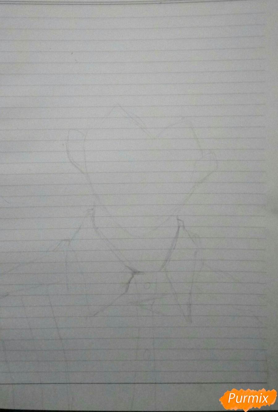 Рисуем Канеки в рубашке из аниме Токийский гуль - шаг 1