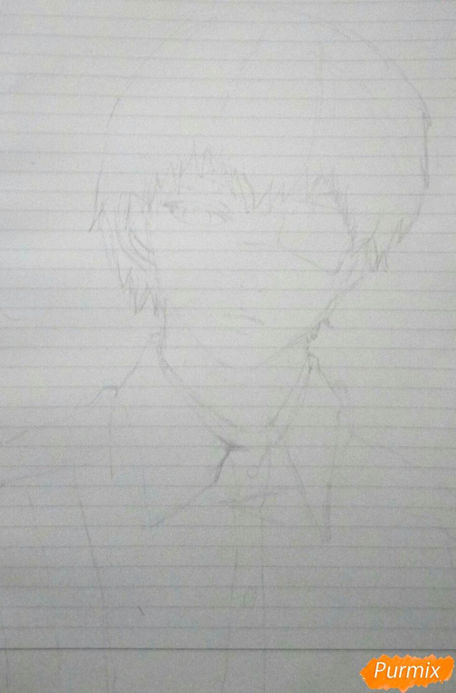 Рисуем Канеки в рубашке из аниме Токийский гуль - шаг 2