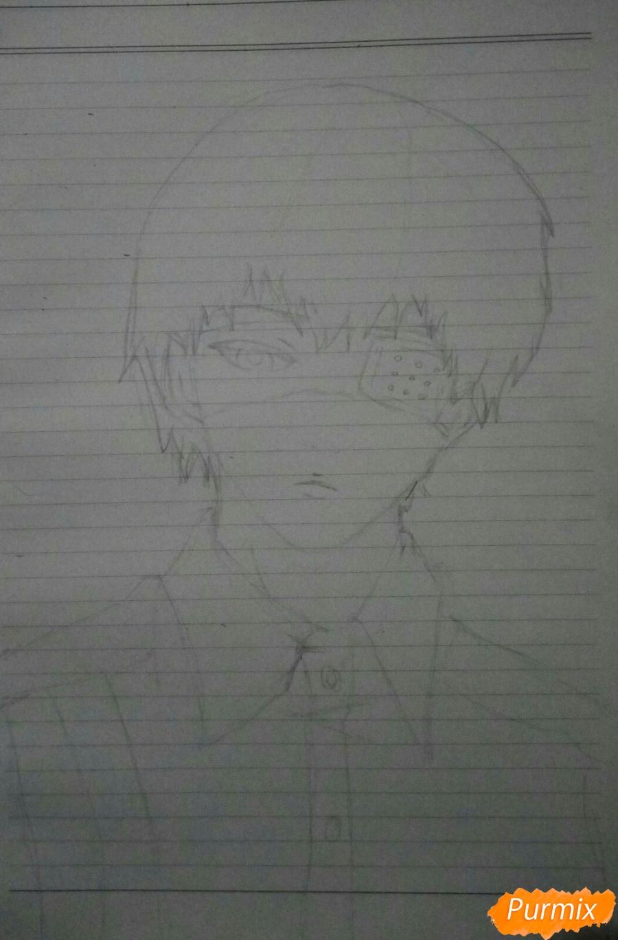 Рисуем Канеки в рубашке из аниме Токийский гуль - шаг 3