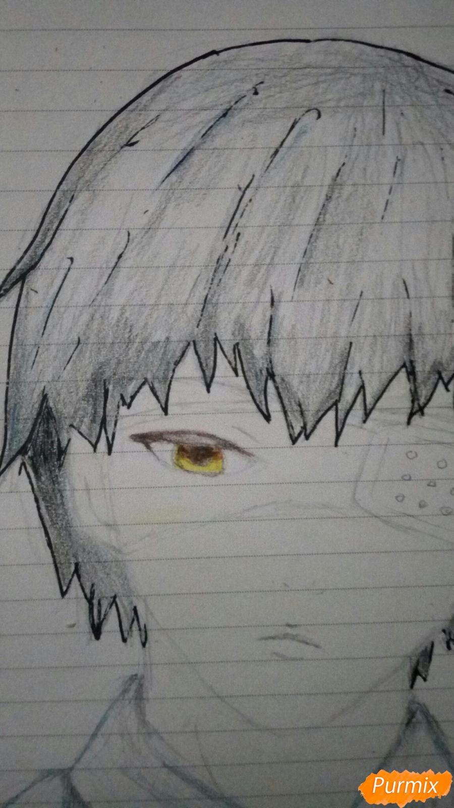 Рисуем Канеки в рубашке из аниме Токийский гуль - шаг 9