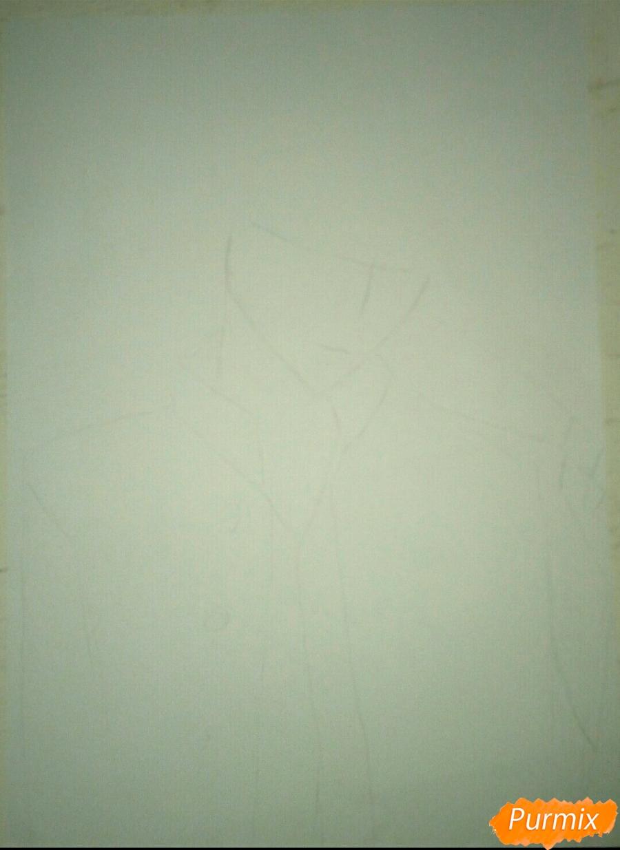 Рисуем Капрала Леви цветными карандашами - шаг 1