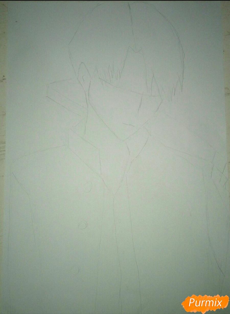 Рисуем Капрала Леви цветными карандашами - шаг 2