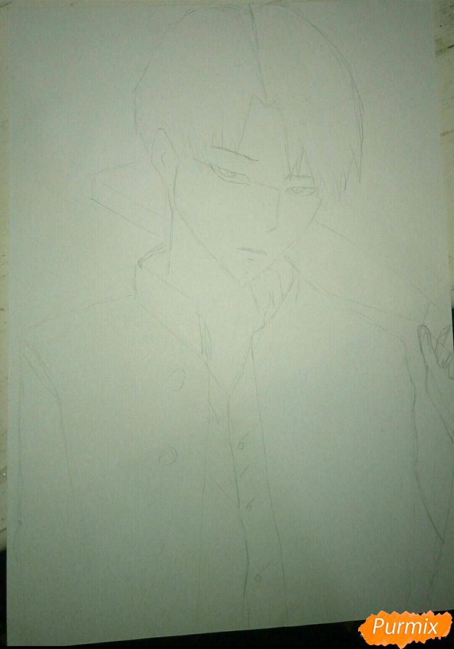 Рисуем Капрала Леви цветными карандашами - шаг 3