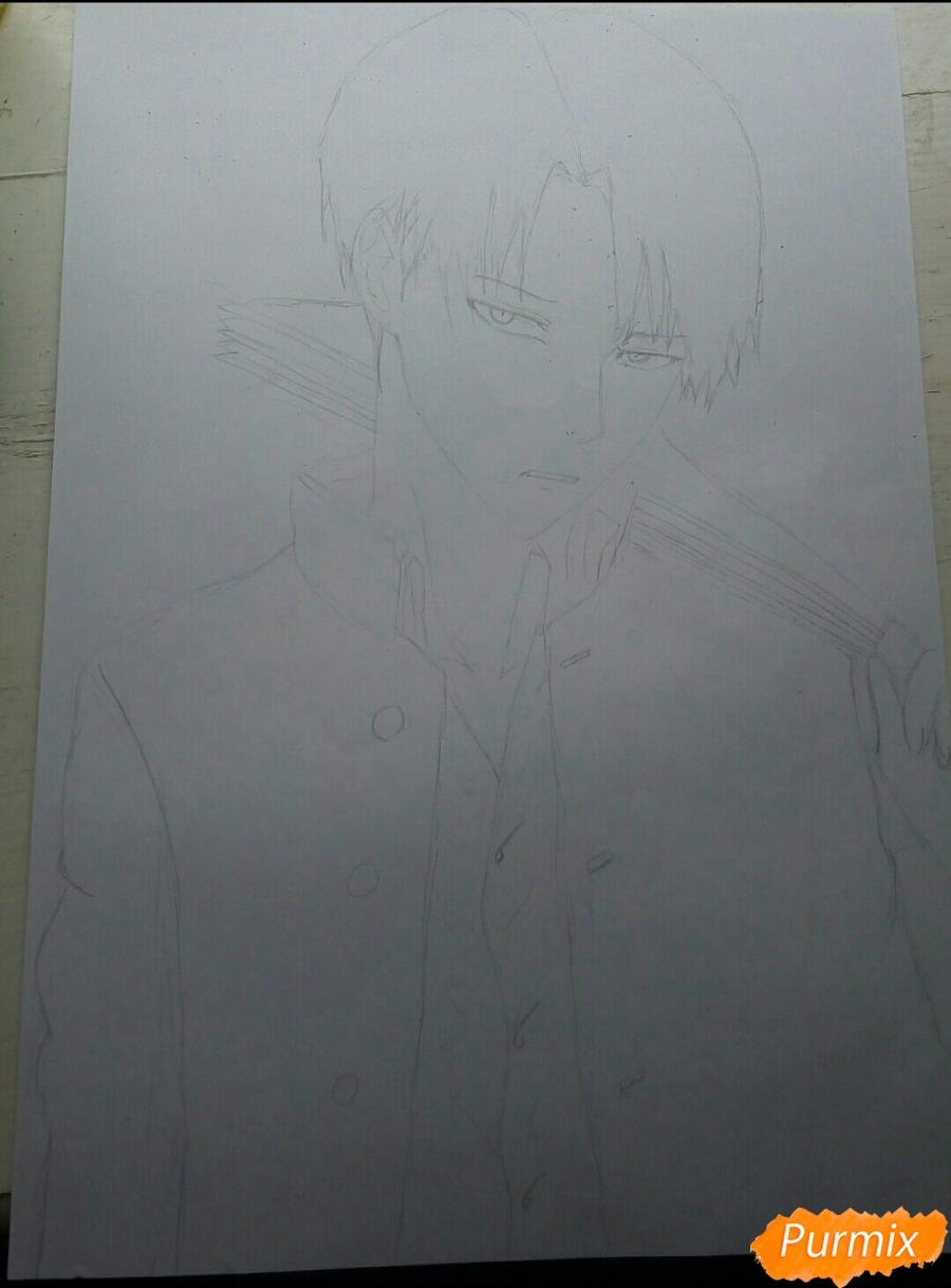 Рисуем Капрала Леви цветными карандашами - шаг 4