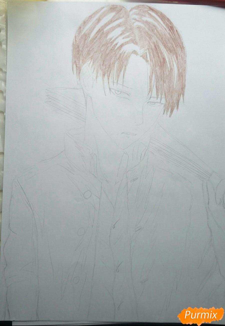 Рисуем Капрала Леви цветными карандашами - шаг 5