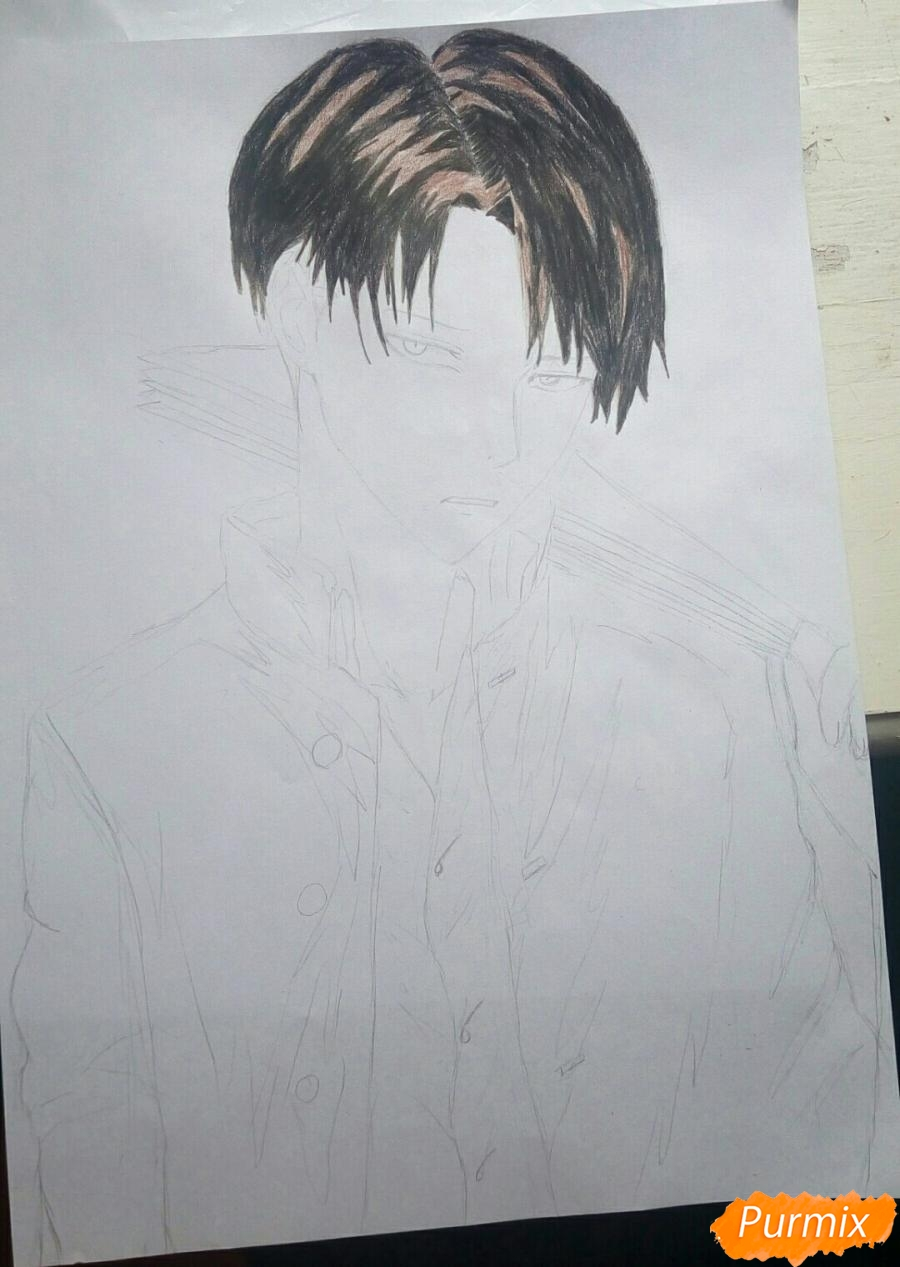 Рисуем Капрала Леви цветными карандашами - шаг 6