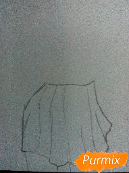 Рисуем Широ в полный рост цветными карандашами - шаг 1