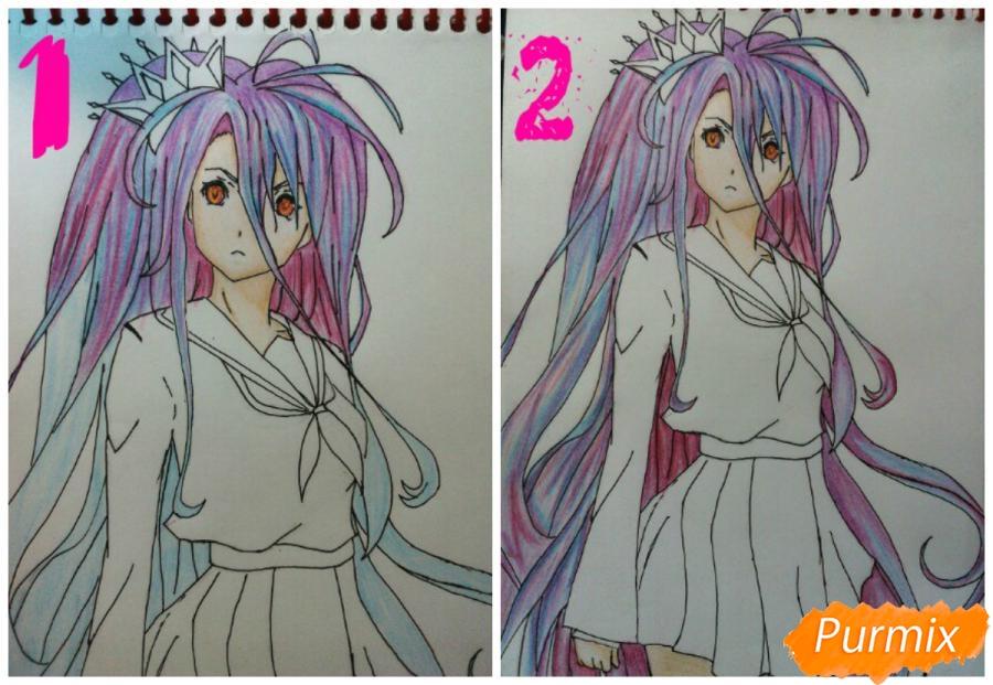 Рисуем Широ в полный рост цветными карандашами - шаг 11