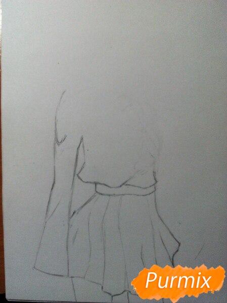 Рисуем Широ в полный рост цветными карандашами - шаг 2
