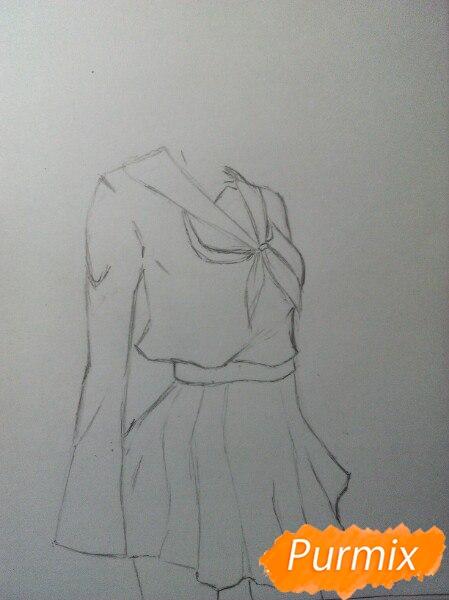 Рисуем Широ в полный рост цветными карандашами - шаг 3