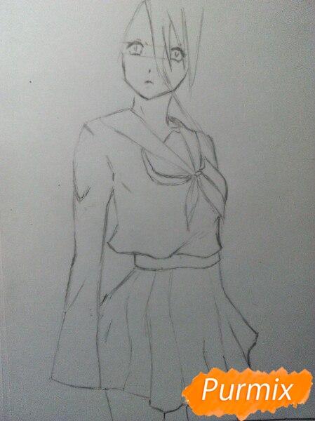 Рисуем Широ в полный рост цветными карандашами - шаг 4