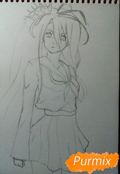Рисуем Широ в полный рост цветными карандашами - шаг 5