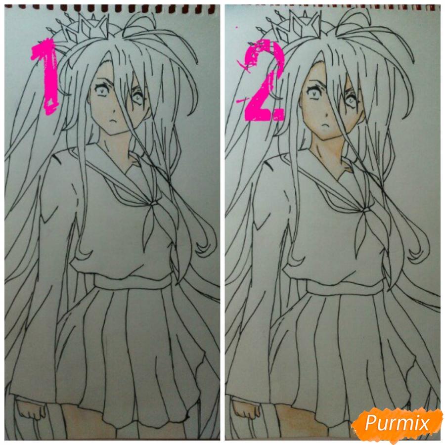 Рисуем Широ в полный рост цветными карандашами - шаг 8