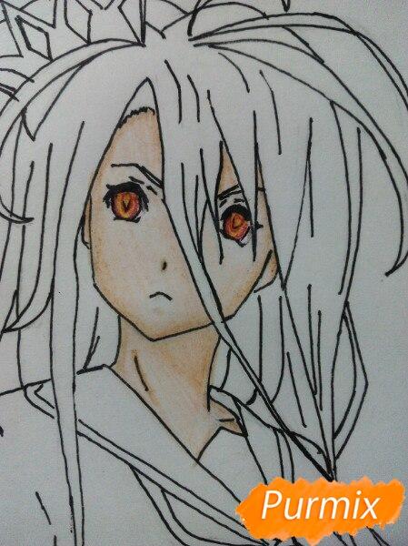 Рисуем Широ в полный рост цветными карандашами - шаг 9