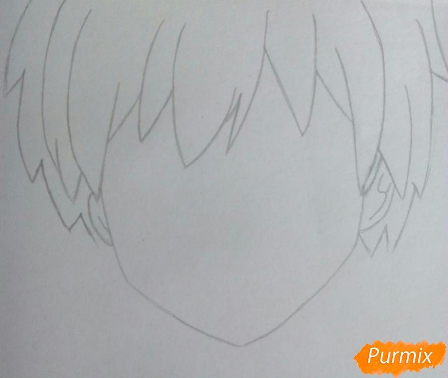 Рисуем Карму Акабане из аниме Класс убийц - шаг 2